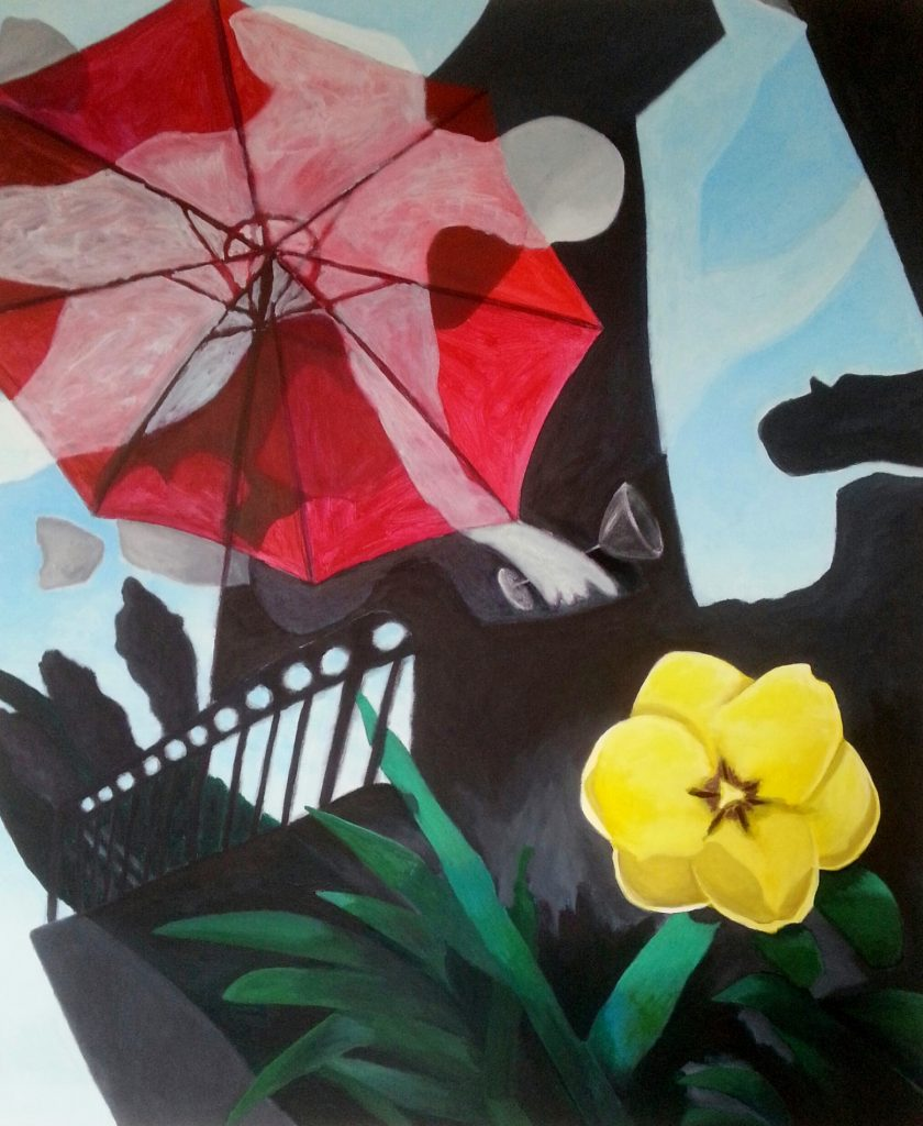 2015-1 Fruehstueck im Freien, 2015, Acryl-Vinyl, 120x100