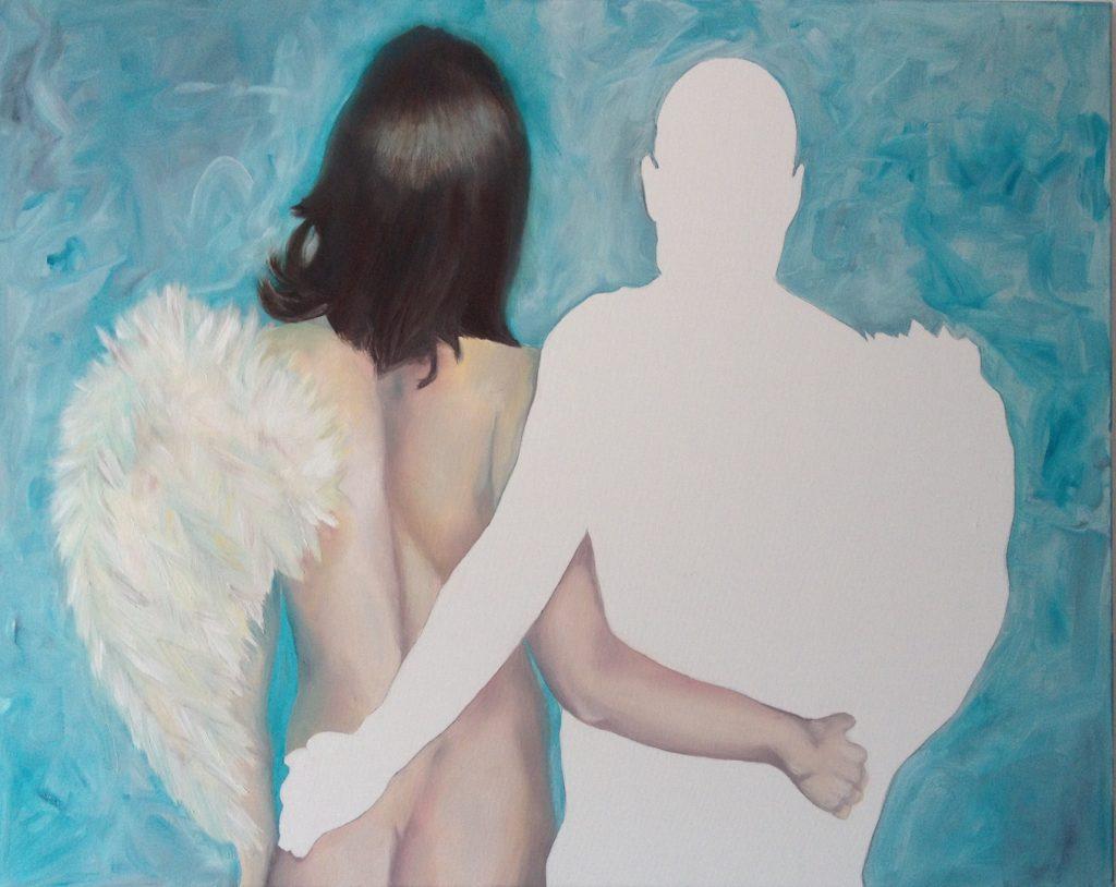 02-Hochgesang, Engel mit nur einem Flügel, Oel-Lwd, 80x100, 2017 IMG_4585