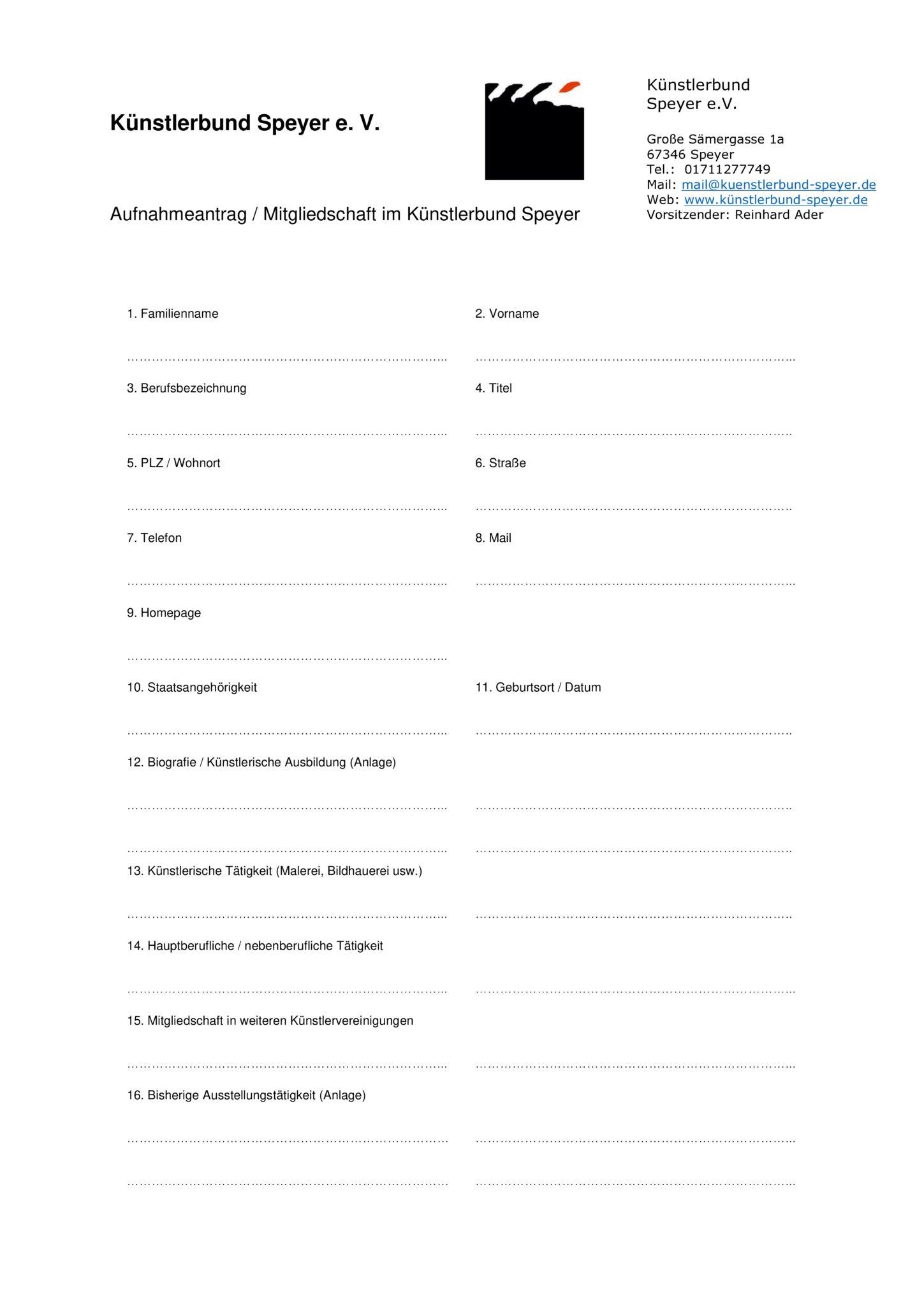 Künstlerbund Speyer Aufnahmeantrag_Seite01